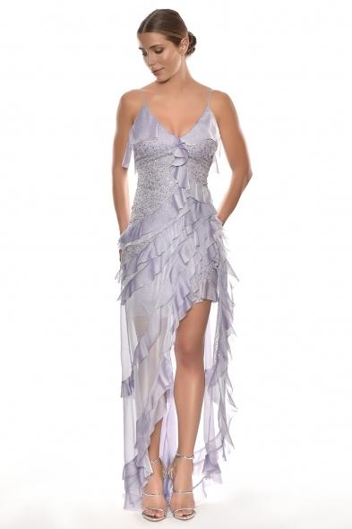 Alfa Beta - Lila Rengi İp Askılı V Yaka Fırfırlı Uzun Elbise