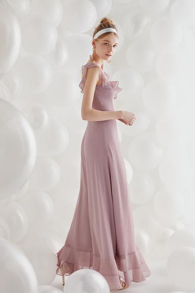 - Lila Şifon Askılı Uzun Büyük Beden Elbise - Oleg Cassini