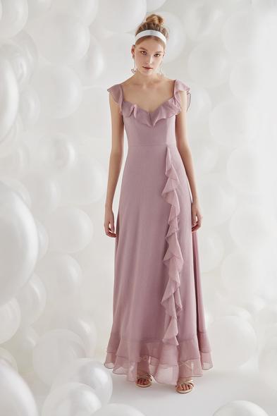 Lila Şifon Askılı Uzun Elbise - Oleg Cassini