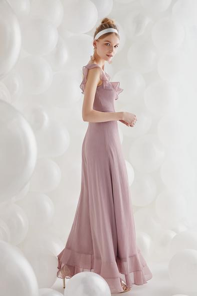 - Lila Şifon Askılı Uzun Elbise - Oleg Cassini