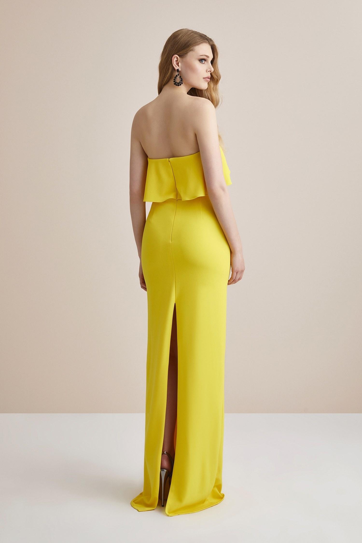 Limon Sarısı Straplez Krep Yırtmaçlı Uzun Abiye Elbise - Thumbnail