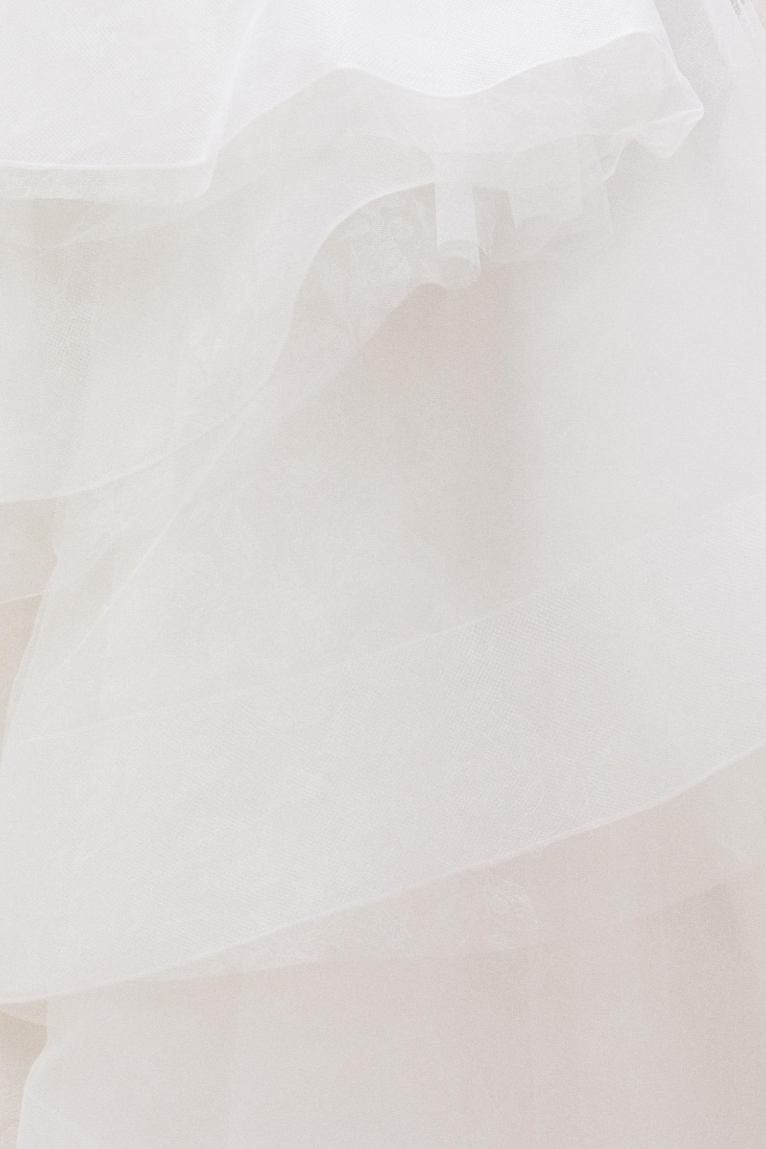 M Yaka Straplez Kat Kat Tül Etekli Gelinlik - Thumbnail