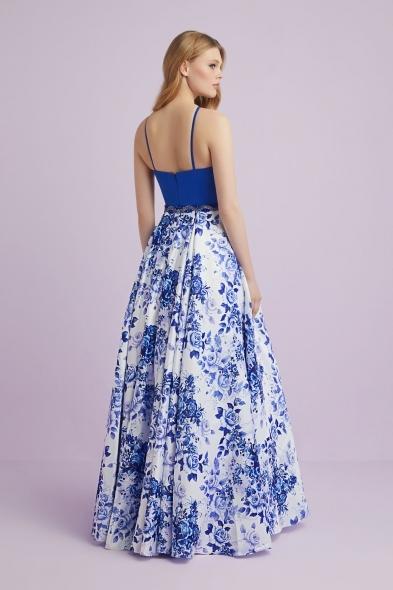 Viola Chan - Mavi Beyaz Desenli Halter Yaka Saten Uzun Abiye Elbise (1)