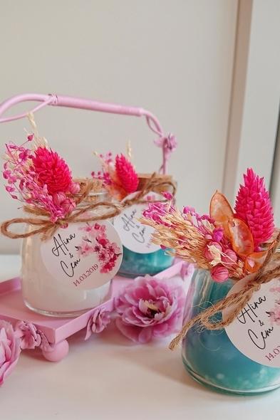 Bridalook - Mavi & Beyaz Kuru Çiçekli Mumlar