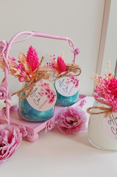Bridalook - Mavi & Beyaz Kuru Çiçekli Mumlar (1)