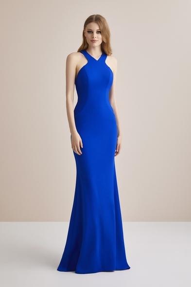 Mavi Boyundan Bağlı Krep Uzun Abiye Elbise - Oleg Cassini