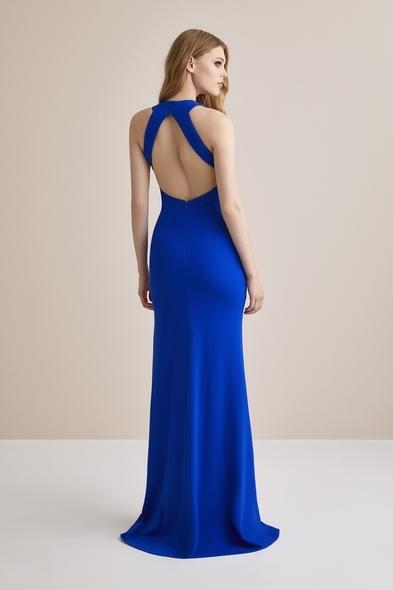 - Mavi Boyundan Bağlı Krep Uzun Abiye Elbise - Oleg Cassini