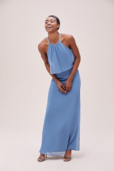 - Mavi Boyundan Bağlı Şifon Uzun Elbise