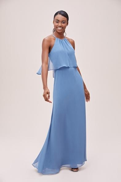 - Mavi Boyundan Bağlı Şifon Uzun Elbise (1)