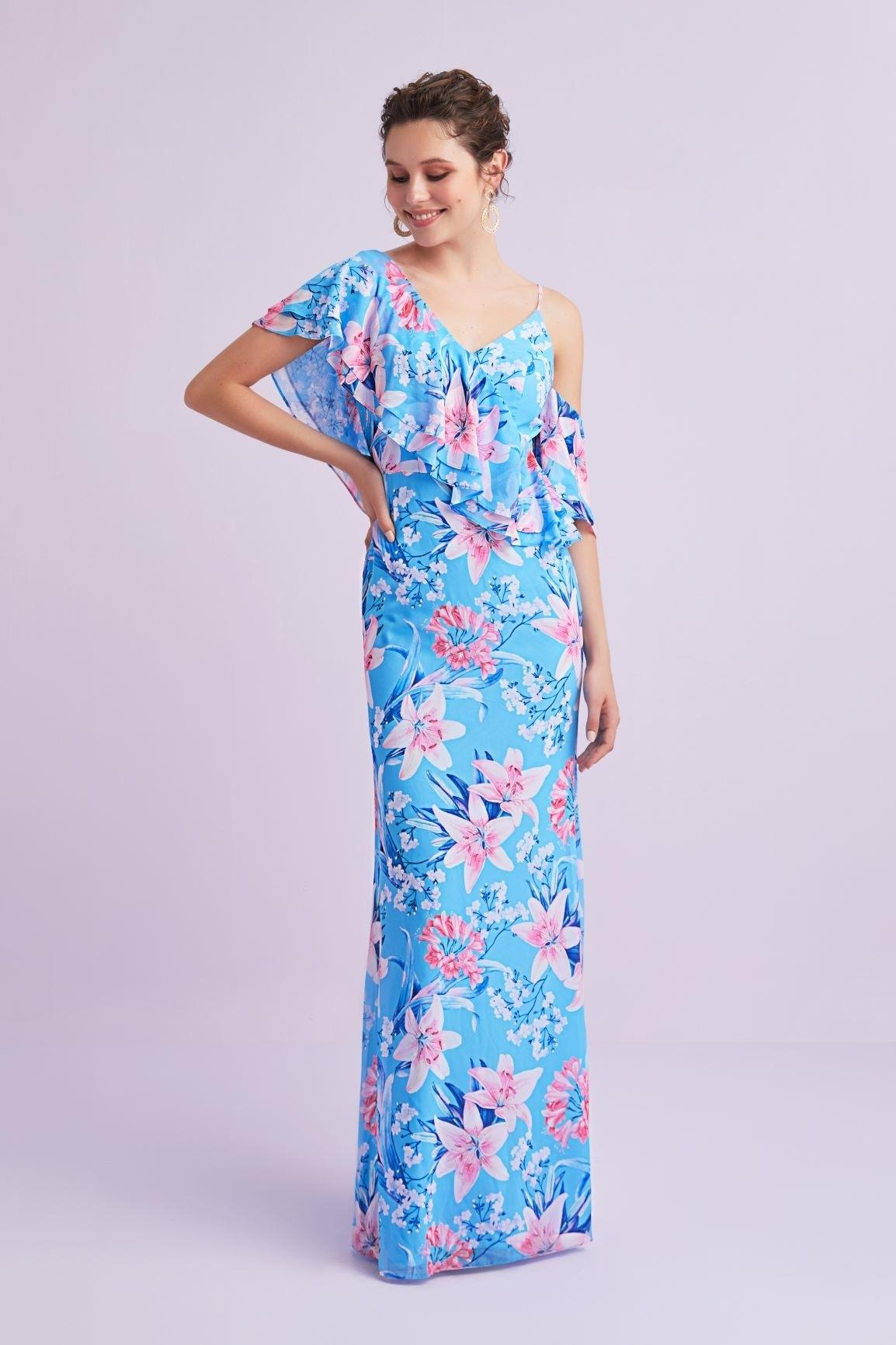 Mavi Çiçekli Askılı Fırfırlı Şifon Uzun Abiye Elbise - Thumbnail