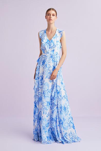 Mavi Çiçek Desenli Askılı Şifon Uzun Elbise
