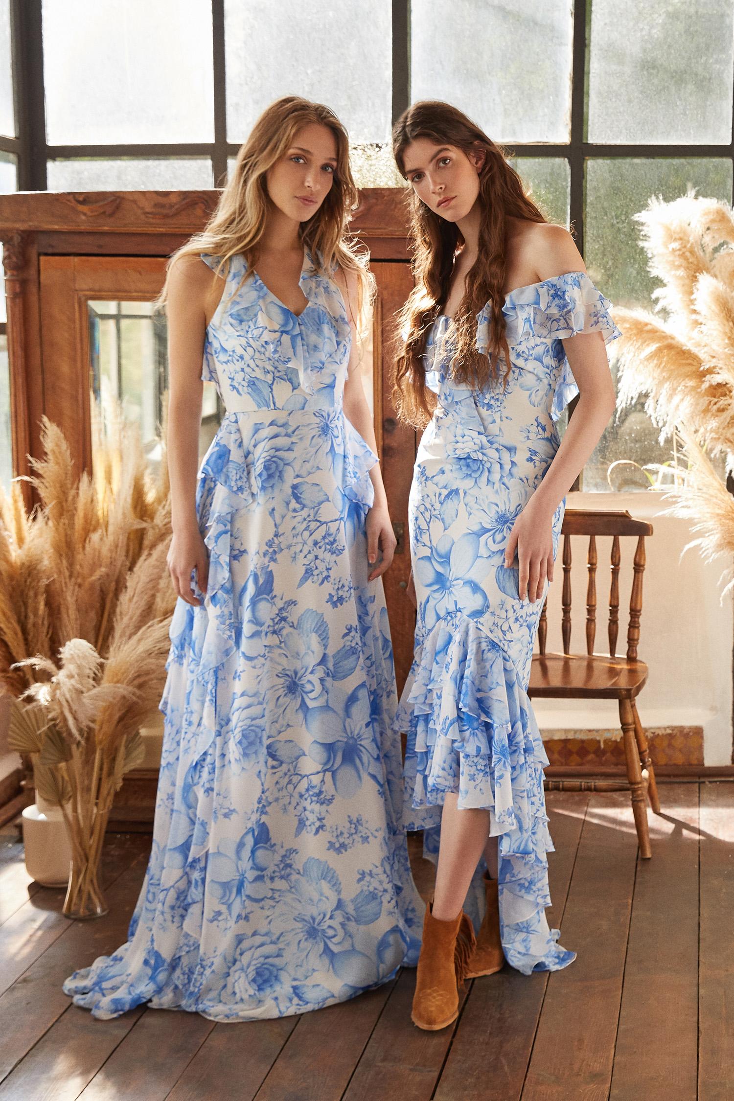 Mavi Çiçek Desenli Kayık Yaka Önü Kısa Arkası Uzun Şifon Elbise - Thumbnail