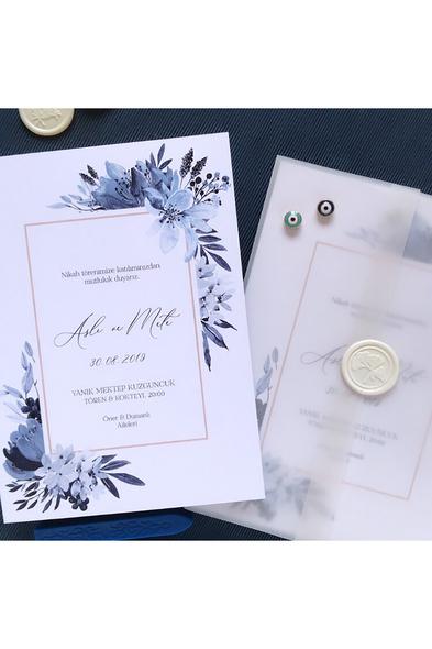Paprika Design - Mavi Çiçekler Davetiye