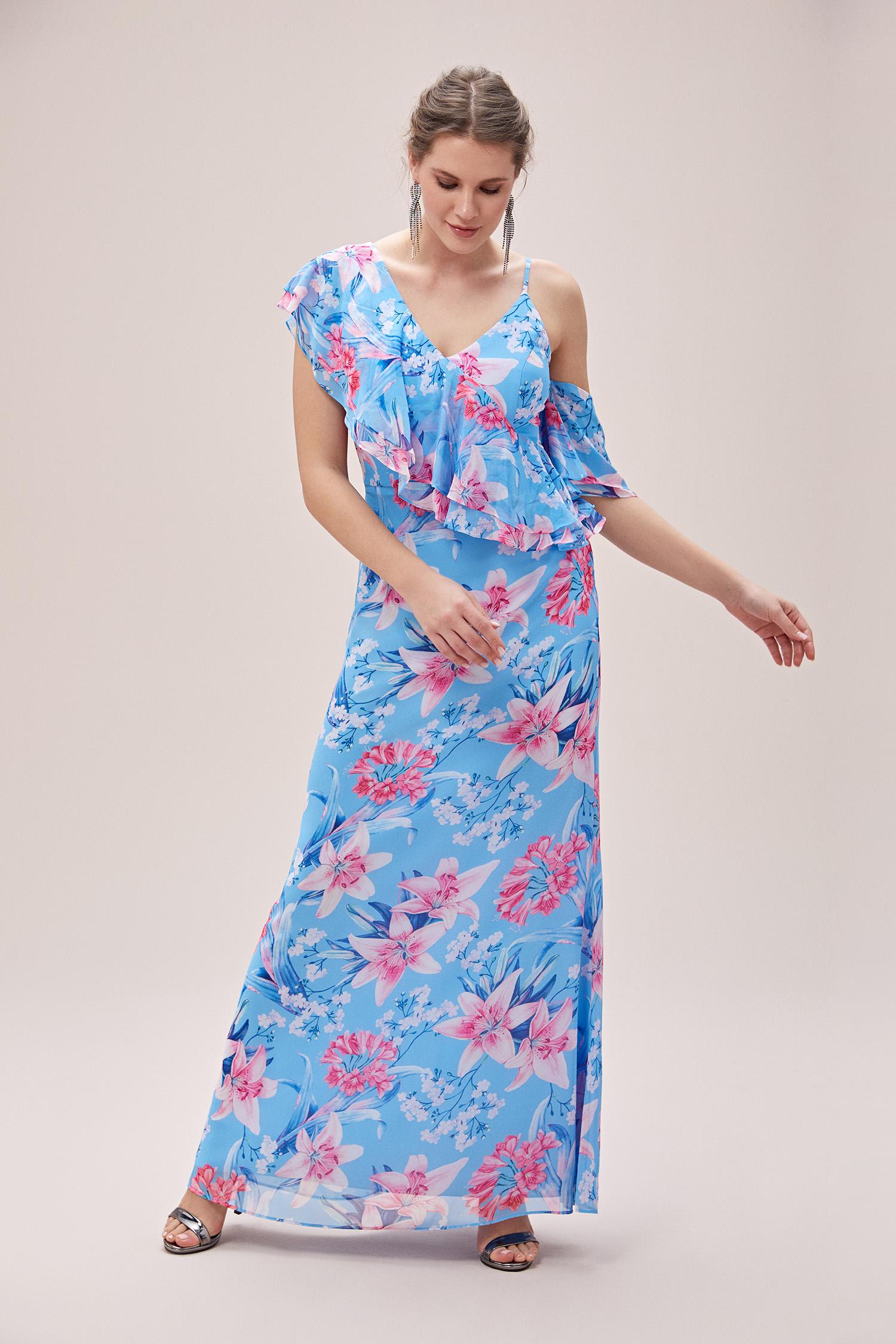 Mavi Çiçekli Askılı Fırfırlı Şifon Uzun Büyük Beden Abiye Elbise - Thumbnail