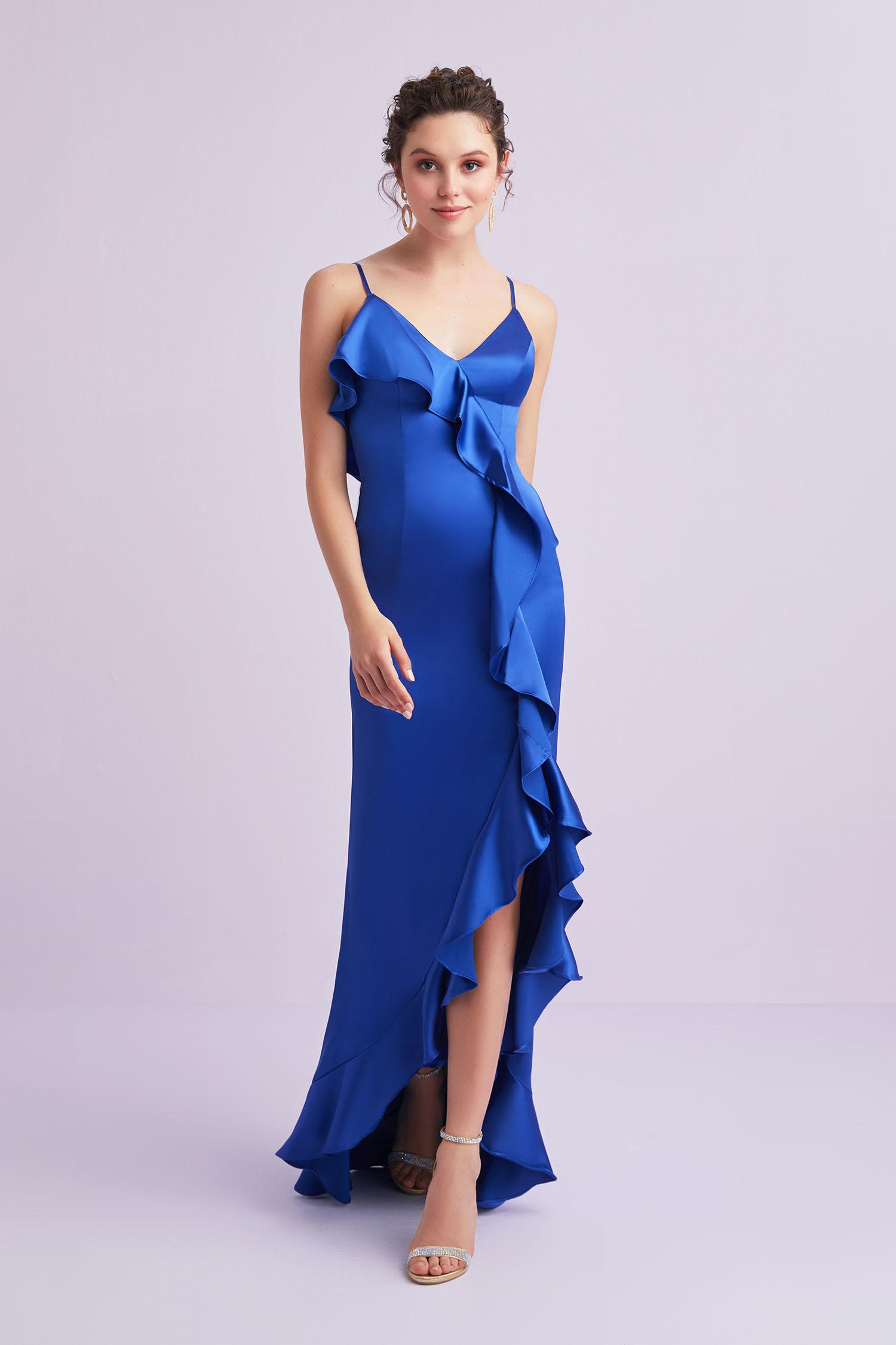 Mavi İnce Askılı Farbala Detaylı Saten Uzun Elbise