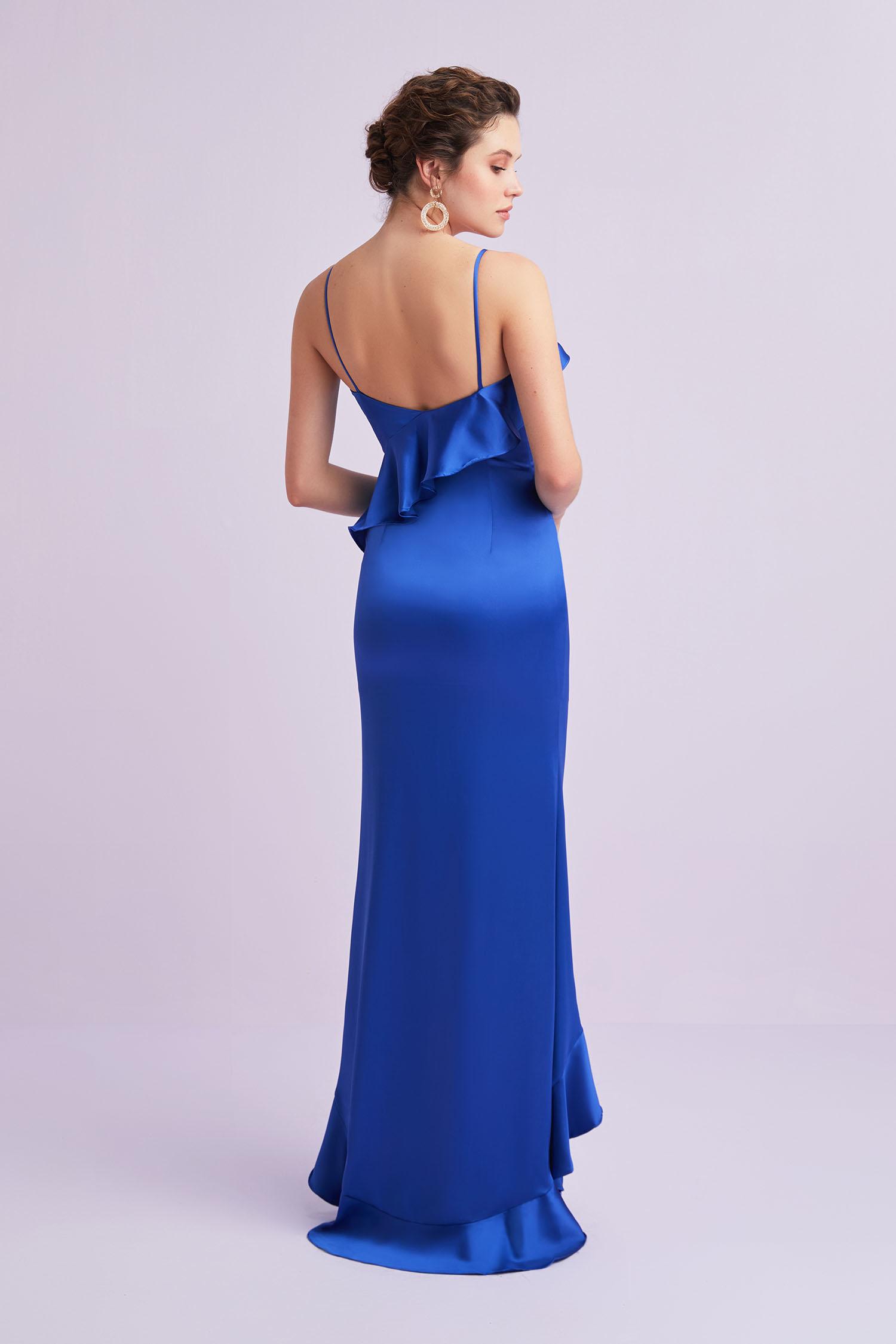 Mavi İnce Askılı Fırfırlı Yırtmaçlı Saten Abiye Elbise - Thumbnail