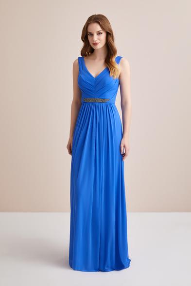 Askılı Kemerli Mavi Uzun Abiye Elbise - Oleg Cassini