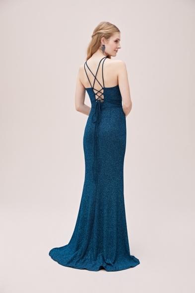 Oleg Cassini - Mavi Metalik Şifon Halter Yaka Uzun Abiye Elbise (1)
