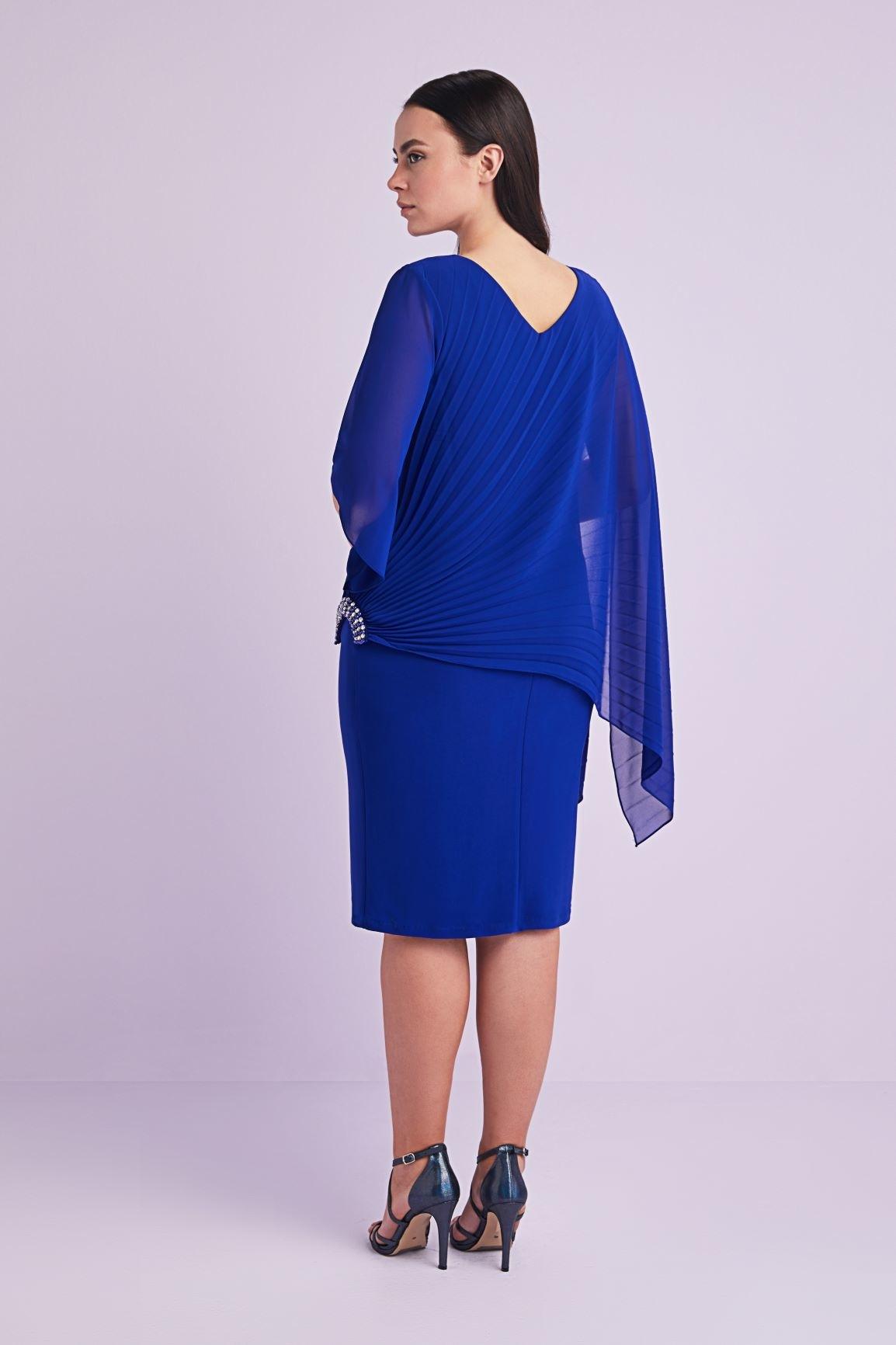 Mavi Şifon V Yaka Midi Boy Büyük Beden Abiye Elbise - Thumbnail