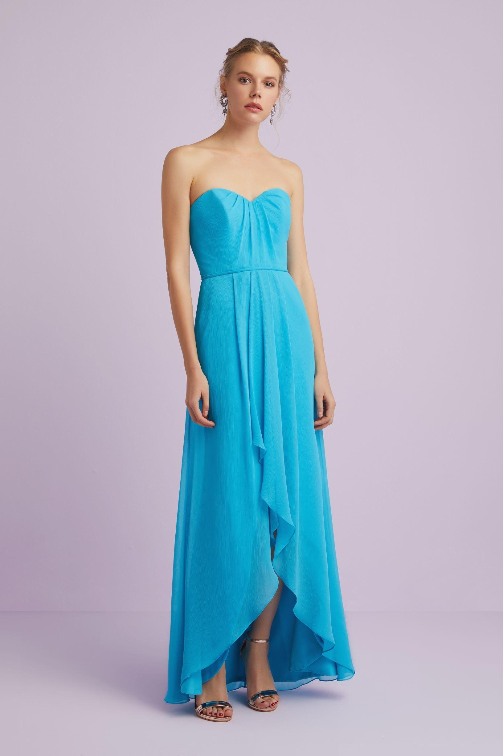 Mavi Straplez Uzun Abiye Elbise