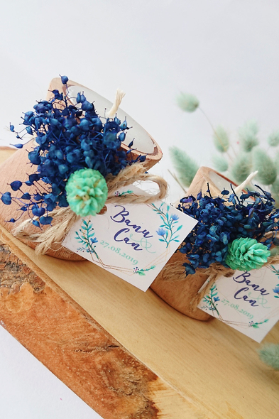 Bridalook - Mavi Temalı Kütük Mum