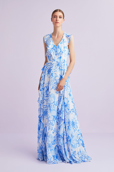 Viola Chan - Mavi V Yaka Çiçek Desenli Sırt Dekolteli Şifon Uzun Elbise