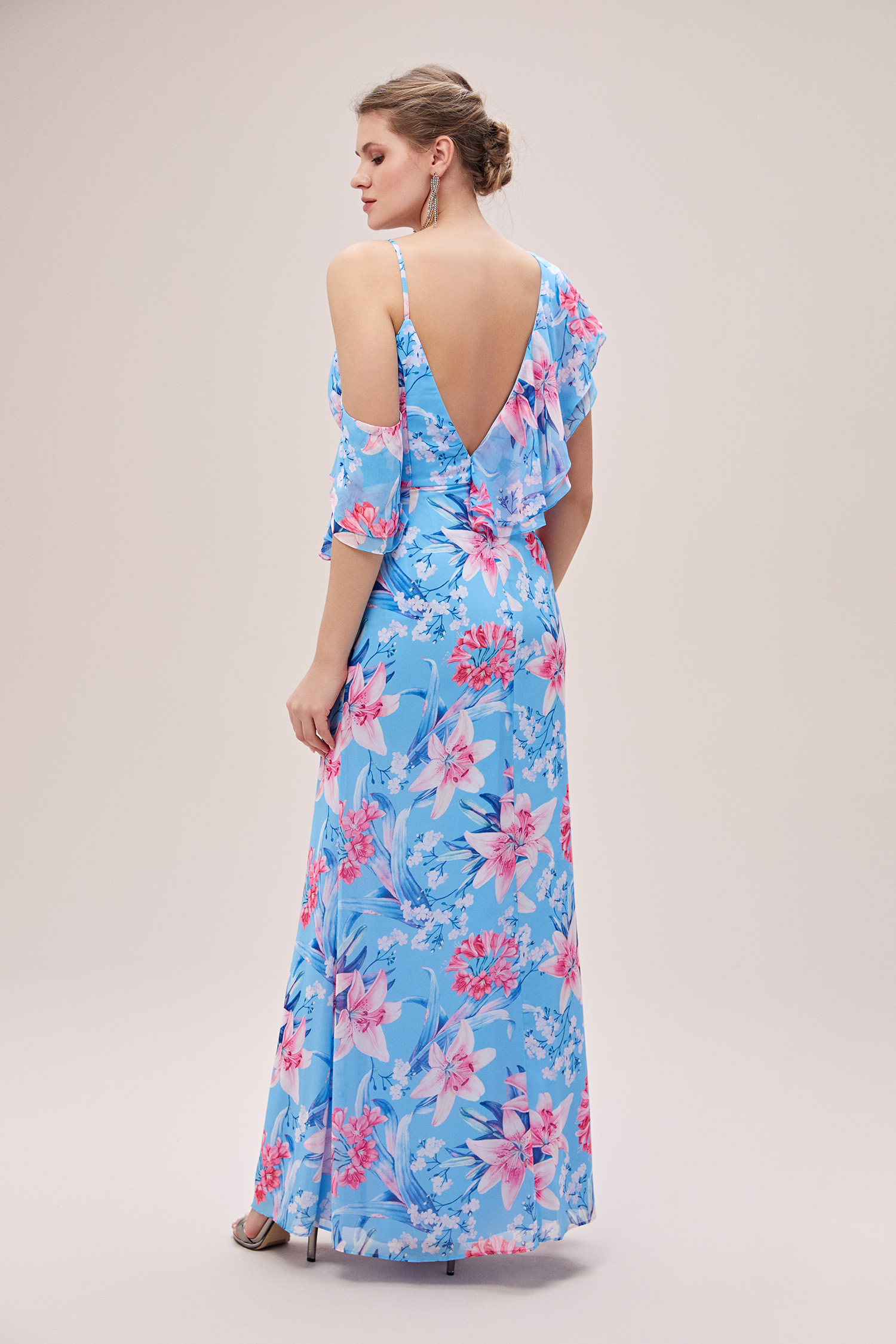 Mavi V Yaka Çiçekli Farbalalı Şifon Büyük Beden Elbise - Thumbnail