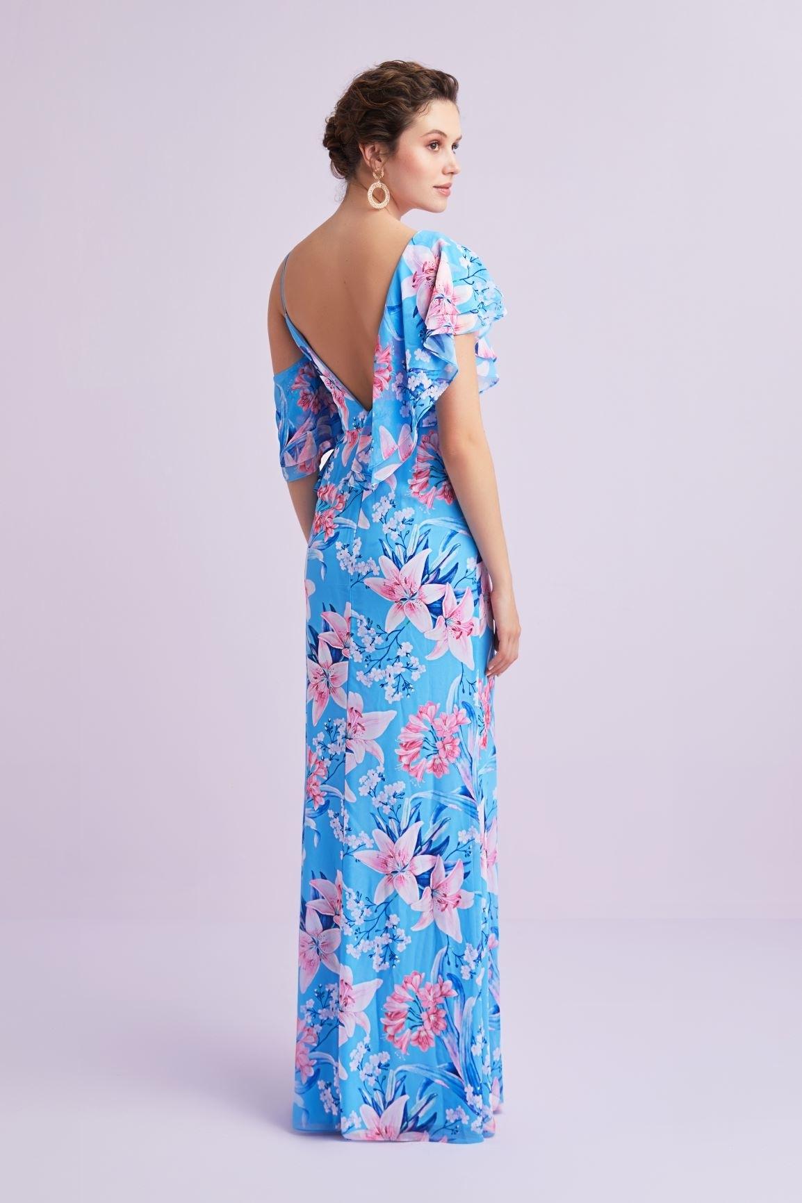Mavi V Yaka Çiçekli Farbalalı Şifon Uzun Elbise - Thumbnail
