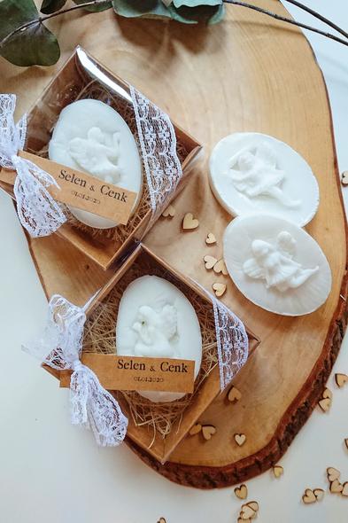 Bridalook - Melek Kabartmalı Kutu Beyaz Sabun