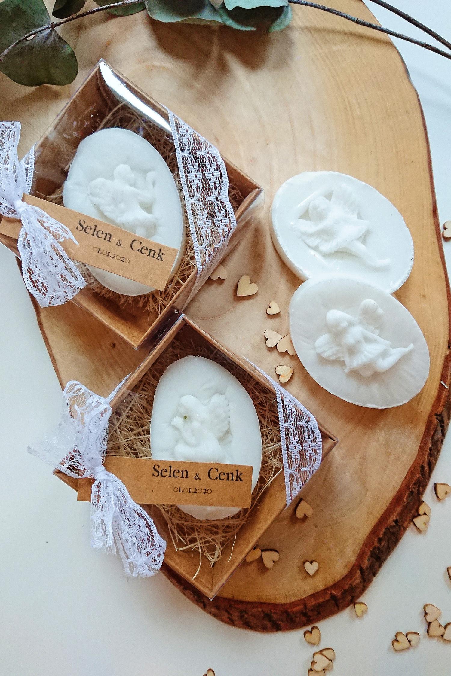 Melek Kabartmalı Kutu Beyaz Sabun