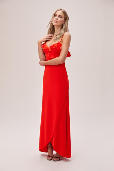 Oleg by Oleg Cassini - Mercan Kırmızısı İnce Askılı Krep Uzun Abiye Elbise (1)