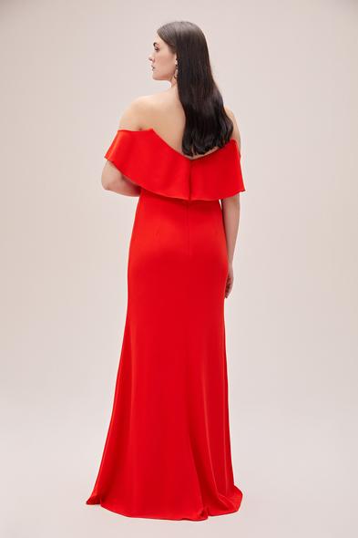 Oleg by Oleg Cassini - Mercan Kırmızısı Straplez Düşük Kol Krep Uzun Abiye Elbise (1)