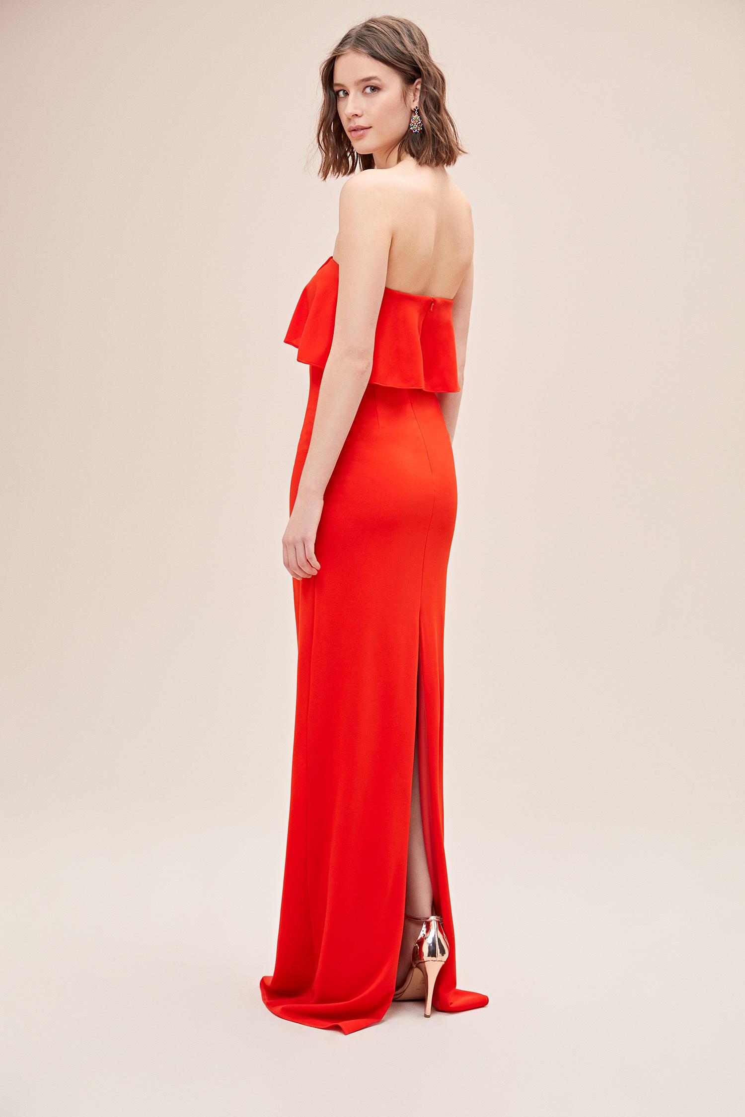 Mercan Kırmızısı Straplez Fırfırlı Şifon Uzun Büyük Beden Abiye Elbise - Thumbnail