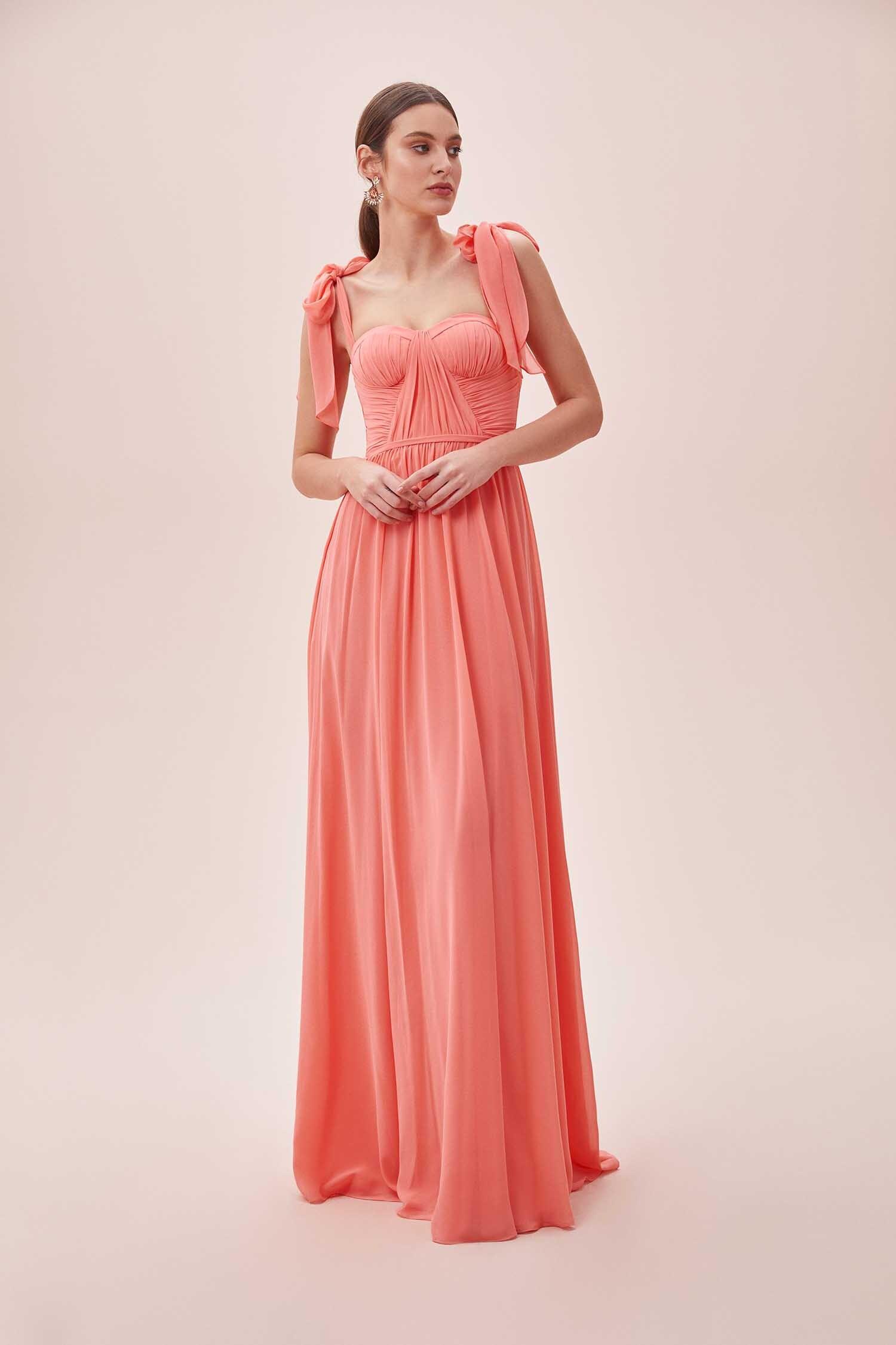 Mercan Rengi Fiyonk Askılı Drapeli Uzun Elbise - Thumbnail