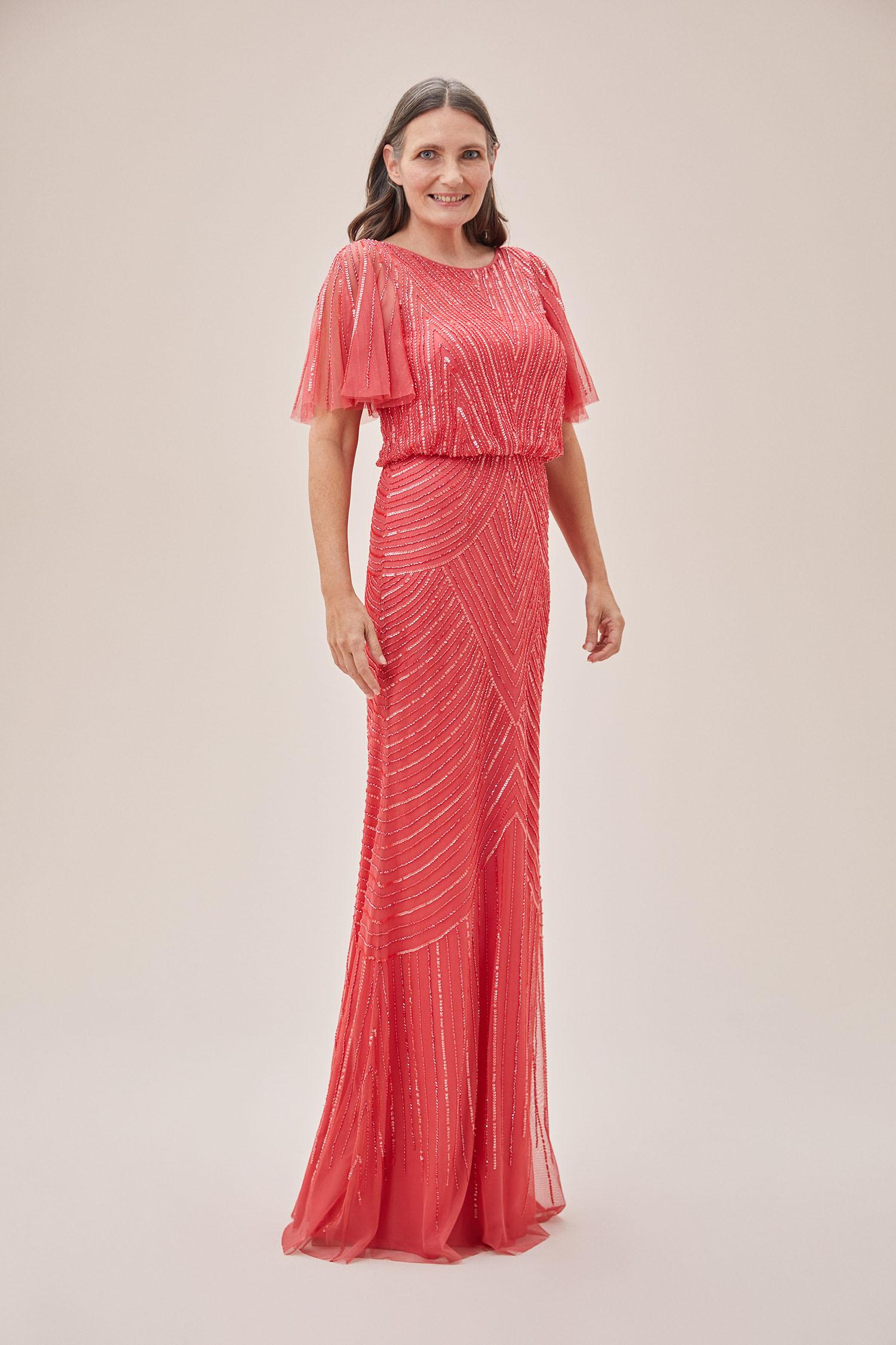 Mercan Rengi Payet İşlemeli Kısa Kollu Uzun Abiye Elbise - Thumbnail