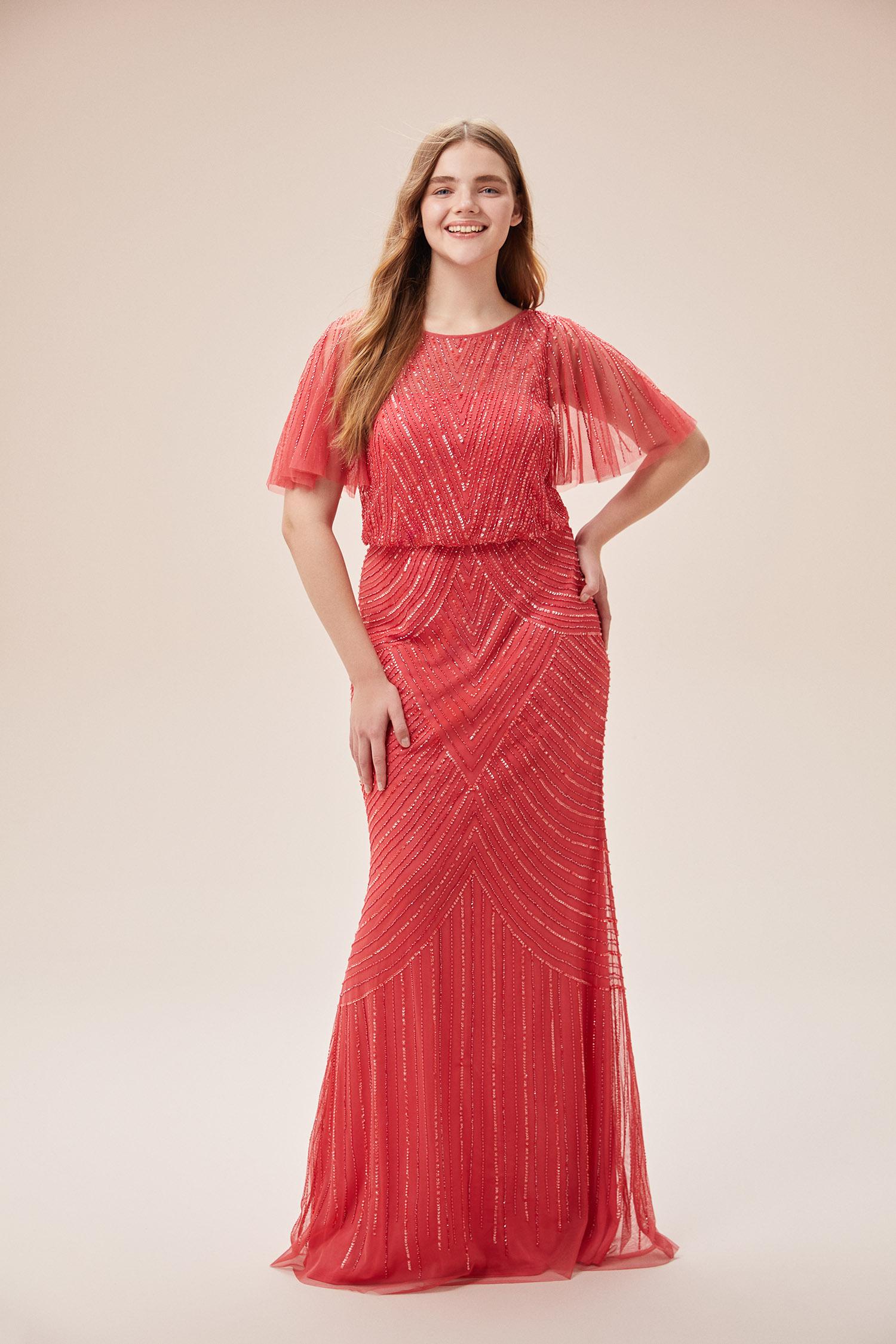 Mercan Rengi Payet İşlemeli Kısa Kollu Uzun Büyük Beden Abiye Elbise - Thumbnail