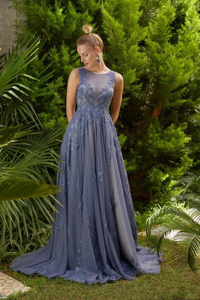 Viola Chan Premium - Metalik Mavi Yuvarlak Yaka Dantelli Uzun Büyük Beden Tül Abiye Elbise