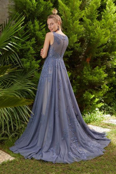 Viola Chan Premium - Metalik Mavi Yuvarlak Yaka Dantelli Uzun Büyük Beden Tül Abiye Elbise (1)