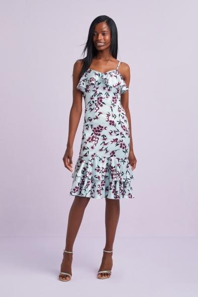 Viola Chan - Mint Rengi Desenli Askılı Fırfırlı Midi Şifon Elbise