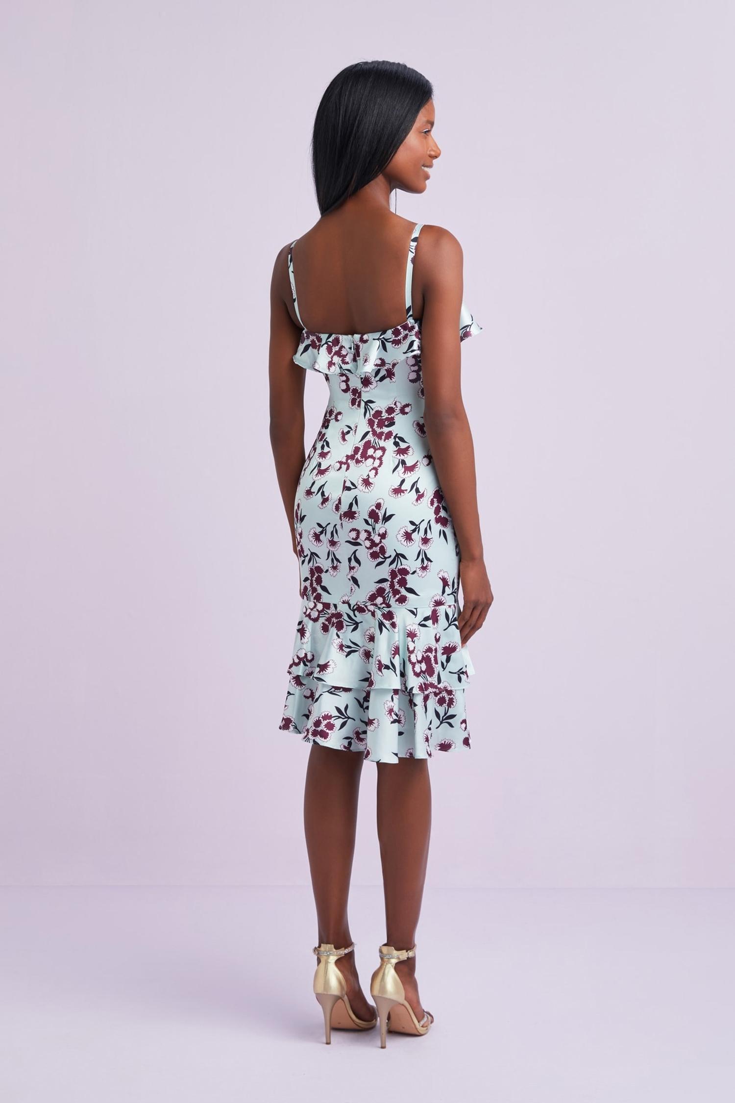 Mint Rengi Desenli Askılı Fırfırlı Midi Şifon Elbise - Thumbnail