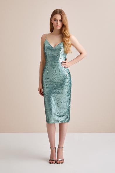 Viola Chan - Mint Yeşili İp Askılı Pullu Abiye Elbise