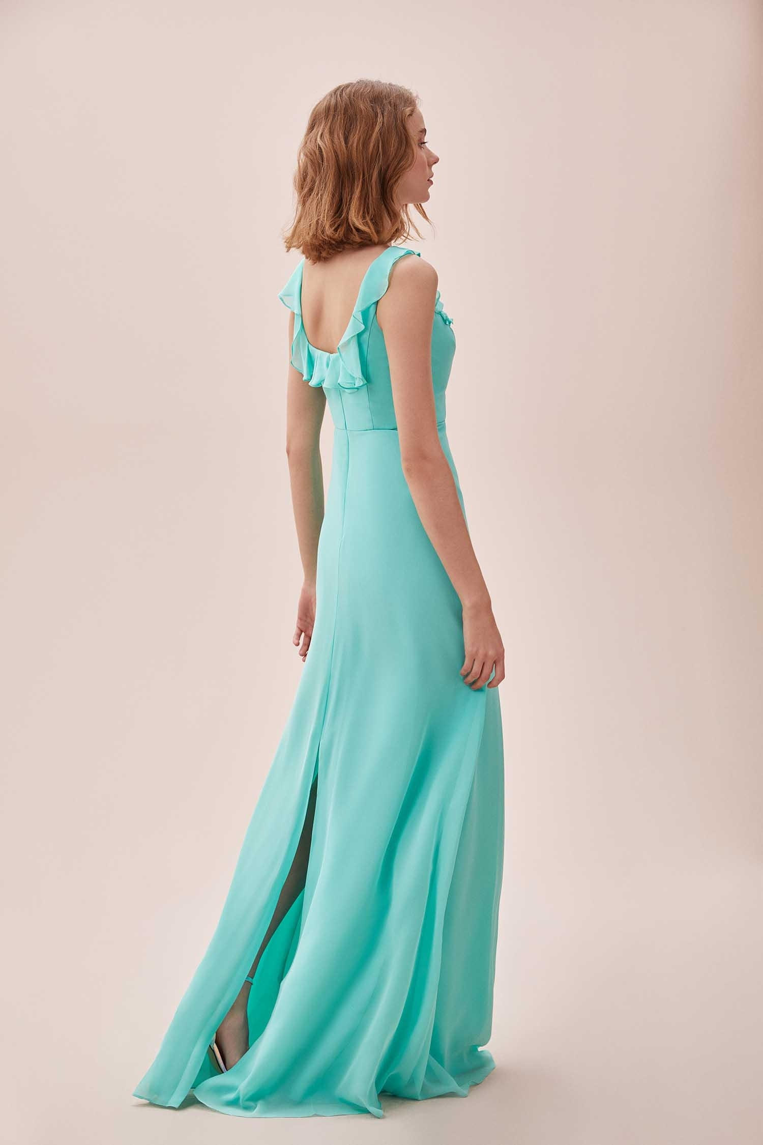 Mint Yeşili Fırfırlı Kare Yaka Şifon Uzun Elbise - Thumbnail