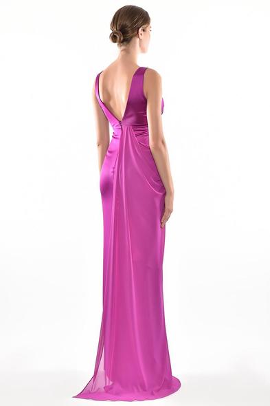Alfa Beta - Mor Askılı Göğüs Çiçek Aksesuarlı Şifon Uzun Elbise (1)