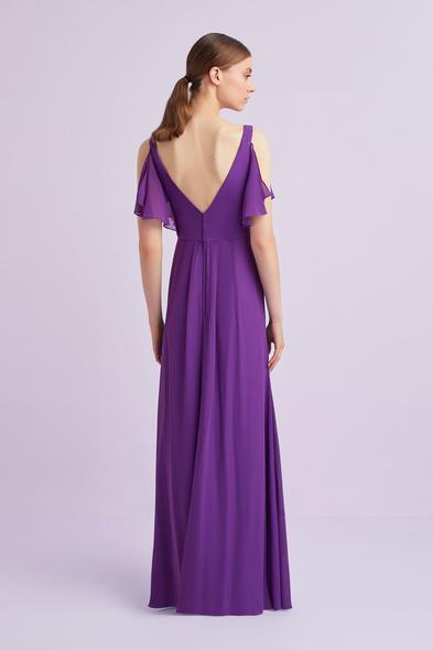 - Mor Askılı Kolları Fırfırlı Uzun Abiye Elbise - Oleg Cassini