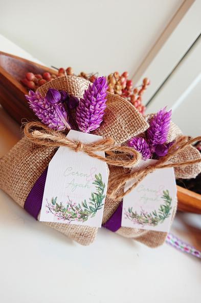 Bridalook - Mor Çiçekli Jüt Keseler