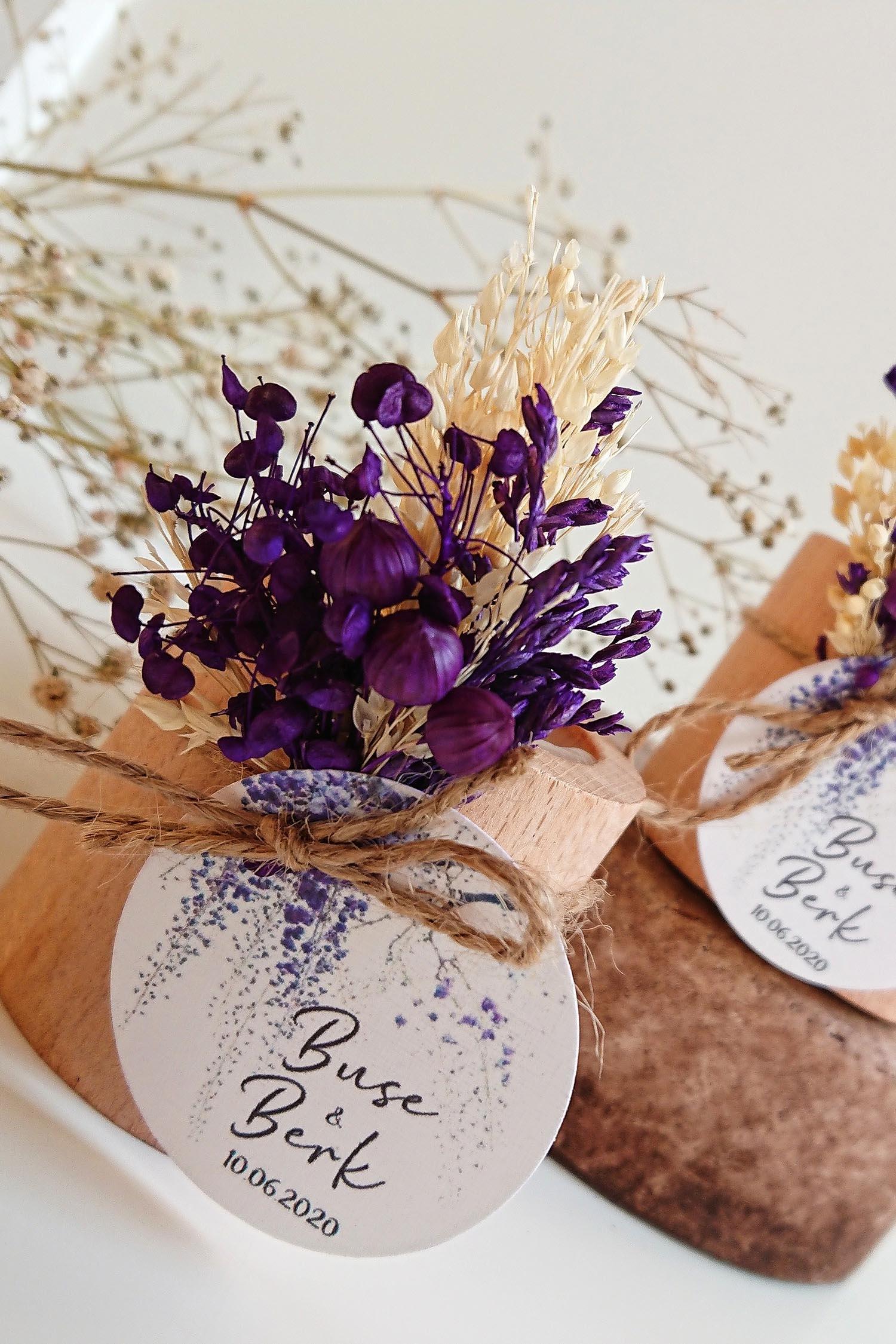Mor Çiçekli Kütük Mum