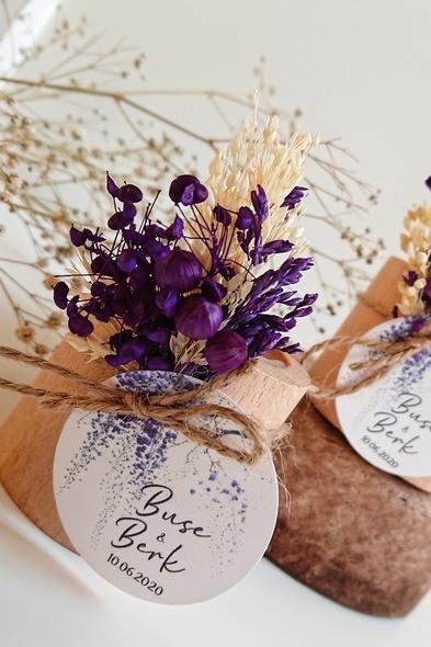 Bridalook - Mor Çiçekli Kütük Mum