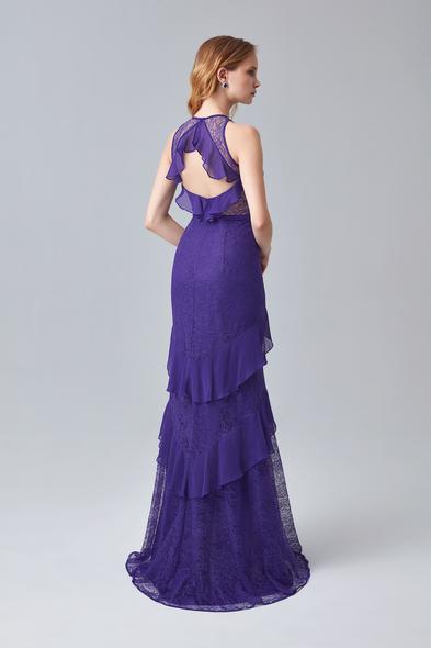 - Mor Dantel İşlemeli Uzun Abiye Elbise - Oleg Cassini