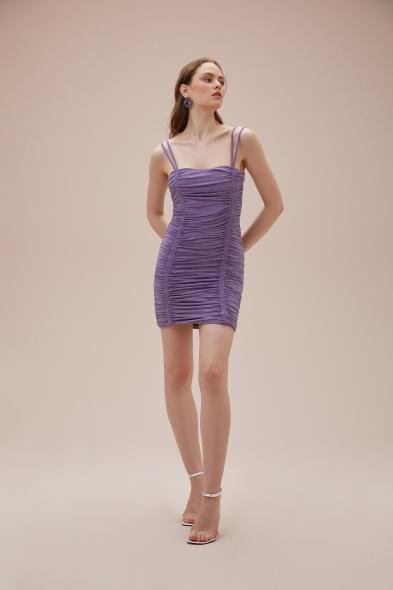 OLEG CASSINI TR - Mor İnce Çift Askılı Büzgülü Mini Jarse Elbise (1)
