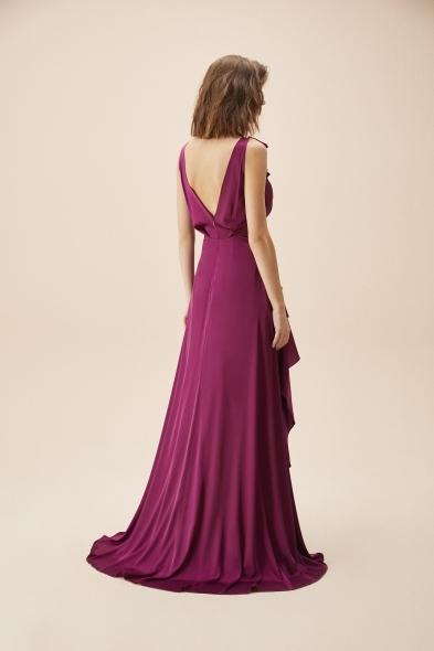 Alfa Beta - Mor Kalın Askılı Fırfırlı Saten Uzun Elbise (1)
